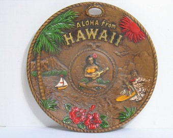 Vintage Aloha From Hawaii Plate Hula Girl Uke Surfer Surfing Hula Girl Playing Ukulele