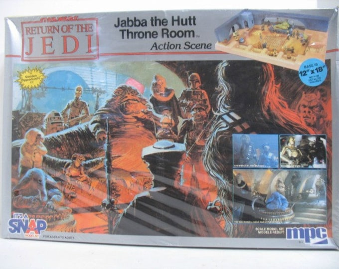 Vintage 1983 Return of The Jedi Jabba the Hutt Throne Room Snap Model Kit, Sealed in Box, MPC Star Wars
