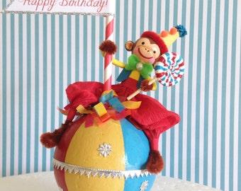Circus Monkey Birthday Cake Topper/Circus Themed