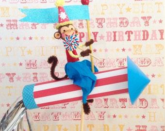 Rocket Riding Monkey/Space Ship Monkey/Birthday Monkey Decoration/Cake Topper