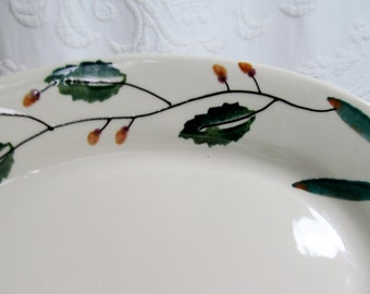 Hartstone Oval Serving Platter Dish Bowl USA Leaves and Berries