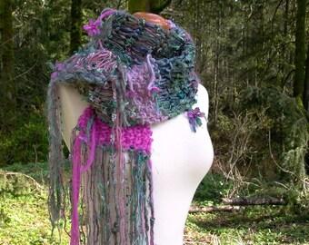 butterfly garden. handknit scarf . bohemian art yarn knit scarf . handspun wool ribbons sari silk flowers sequins . orchid pink green