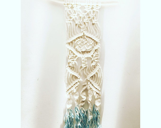 Wall hanging macrame, dip & dyed turquoise. Unique item.