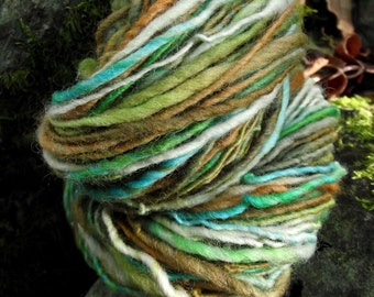 Handpainted yarn, handspun worsted wool yarn, thick and thin-FOREST GNOME