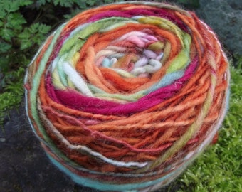 Handspun self striping yarn, handpainted yarn, wool striped worsted yarn,OOAK-Carnival