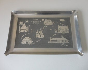 VINTAGE 'HOME is where the heart is' metal TRAY