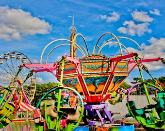 Tornado Spin Carnival Ride Fine Art Print- Carnival Art, County Fair, Nursery Decor, Home Decor, Children, Baby, Kids