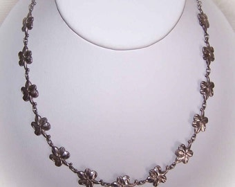 Vintage STERLING SILVER Floral Link Necklace