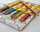 Colored Pencil Case . 12 Colored Pencils Included . Rainbow Bunting . Birthday Party Favor or Gift . Rainbow Art Party . Pencil Roll