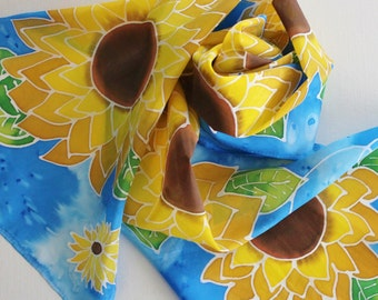 Hand Painted Silk Scarf - Handpainted Scarves Sunflowers Yellow Gold Mustard Green Royal Blue Sapphire Azure Garden Floral Flowers Sun