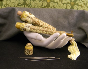 Golden Damask Tambour Embroidery Tool Set