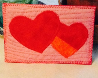 Quilted Post Card with Hearts