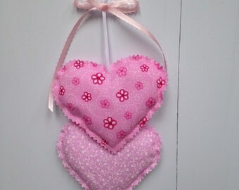 Pink Heart Hangings, Valentine Hearts Wall hanging, Fabric Hearts Wall Hanging, Wall Decorations