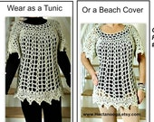 Summer Tunic or Beach Cover, crochet pattern for women, girls, Dress, sweater, pullover, bohemian, Chest 30-60 inch,Easy pattern, #920