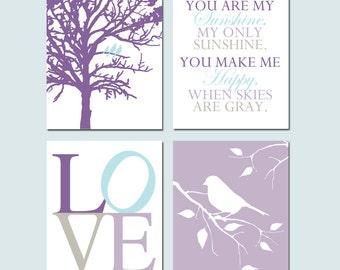 Purple Aqua Nursery Art BABY GIRL Nursery Decor - Birds in a Tree, You Are My Sunshine, LOVE, Bird on a Branch - Set of Four 8x10 Prints