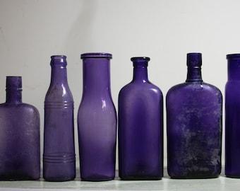 PURPLE BOTTLE Lot - Amethyst Antique Bottle Collection- Vintage Wedding Decor- Rustic Farmhouse Primitive Bottle