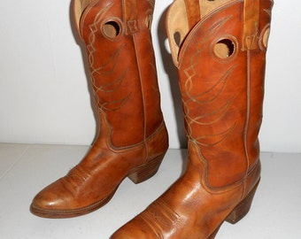 Mens 10.5 D Cowboy Boots Acme Vintage Tan Brown Western Country Boho Shoes Distressed