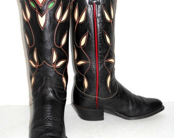 Ralph Lauren Western Vintage Cowboy Boots Womens Size 5.5 C Black Red Green Cowgirl