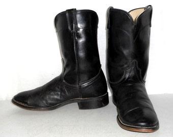 Mens 9 D Black Roper Cowboy Boots Laredo Brand Biker Urban Womens size 10.5
