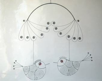 Wire Bird Mobile In Red