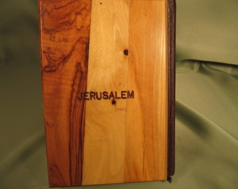 JERUSALEM BIBLE with OLIVE Ttree Wood Cover, Jerusalem Bible, Vintage King James Version Bible,  Bible Olive wood Cover, Bible with Pictures