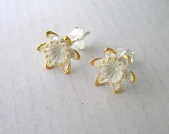 Sterling silver flower stud earrings. Water lilly flower stud earrings. Lotus flower stud earrings. Botanical jewelry