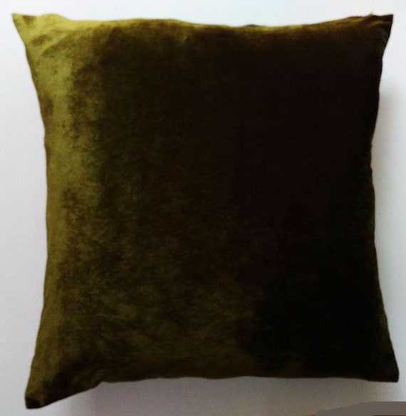 Deep Olive Green Velvet Pillow Euro Sham Floor Pillow