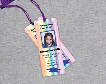 Kindergarten Graduation Bookmarks - Preschool Graduate Bookmark - Pre K Stepping Up Bookmark Favors - Personalized Thank You Bookmarks