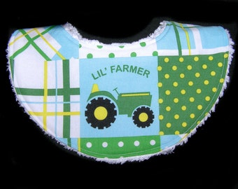 Waterproof Handmade Baby Bib - Teething - White Chenille - Lil' Farmer - Tractor - Ready to Ship