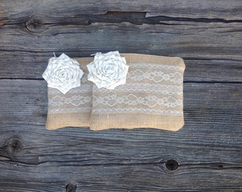 2 Burlap and Lace Wedding Clutch, Bridesmaid Clutches, Flower Girl, Rustic Wedding, Bridesmaid Gift For Her, Wedding Party,  READY TO SHIP