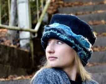 Felt Hat Felted wool hats Womens winter hats Felt hat for women unique felt hat Felt hats Women's wool hat Felted Hat Art Hat
