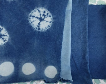 Raw Silk Naturally Dyed 4 Pieces Art Fabric Indigo Blue Shibori Moon Raw Silk Noil Hand Dyed Art Fabric Nubby Texture