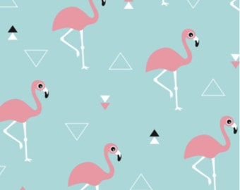 Spoonflower's Summer Flamingo designed by LittleSmileMakers -printed on a variety of cotton fabrics - by the yard