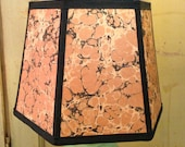 Marbled Paper Lamp Shade, Small Lampshade in Italian Specialty Paper 6x8x6 Clip Top - Such warm color when lit up!