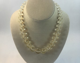 Vintage Lucite Glitter Graduated Beaded Necklace
