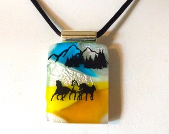 "The Trio"" Colorful Fused Glass Horse Pendant Necklace"