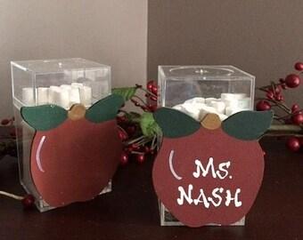 Apple Chalk Holder Box w/ Chalk - Personalized Teacher Gift