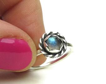 Blue Labradorite Ring - Sterling Silver Stacking Ring - Sterling Stone Ring - Size 9 Ring - Oxidized Silver Ring - Blue Gemstone Ring