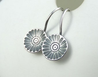 Sterling Silver Earrings - RUSTIC FLOWER DISCS (Daisy) - Handmade Hand Stamped Textured Flowers Metalwork Jewelry