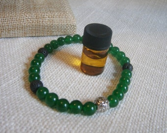Aromatherapy Stretch Bracelet Natural Gemstone Lava Stone Essential Oil Green Jade Jewelry Bead