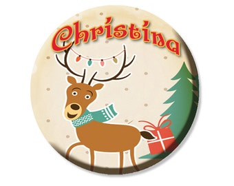 "Personalized Name Reindeer Pocket Mirror, Magnet or Pinback Button - Party Favors 2.25"" MR472"
