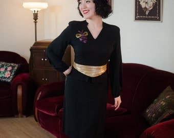 Vintage 1940s Dress - Bewitching Black Rayon Crepe 40s Cocktail Dress with Glitzy Sequins and Short Peplum