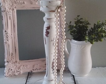 Shabby White Vintage Display Stand, Wood Jewelry Stand, Jewelry Holder