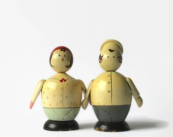 Vintage Chef and Wife Salt & Pepper Shakers, Wooden Figurines, The Baker's Wife, Baking, Vintage Kitchen