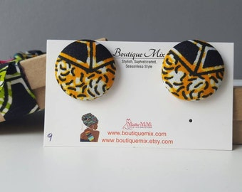 Valentines gift for mom, Button earrings, Fabric earrings, Valentines gift mom, Valentines present for mom, African print earrings, Gifts