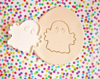 Vintage Halloween Hallmark Ghost Fondant Cookie Cutter White Hard Plastic Imprint Cookie Cutter