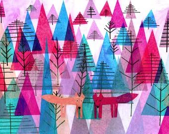 Reunited, fox, foxes, wolf, wolves, forest, nordic, wall art, illustration art print, kids art, children's wall art, kids room decor, modern