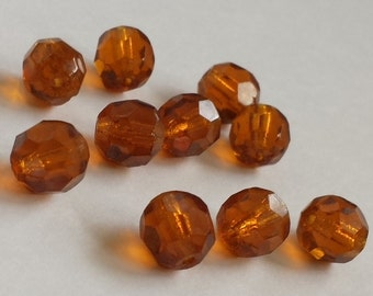FREE SHIPPING CLEARANCE Sale -  Vintage Brown Amber Faceted Round Glass Beads - Lot of 8 - VB737 - Destash Sale