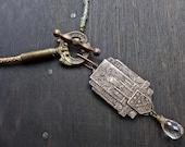 Hierogram. Rustic assemblage choker necklace.