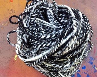Hand Spun Wool Yarn, Hand Spun Yarn, Storybook Two Ply Merino Wool Yarn, Black and White Wool Hand Spun Yarn, 130 Yards yards